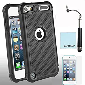 ZAFOORAH® Case Cover for Apple iPod Touch 5 5th Generation Shock proof Impact Defender +Free Stylus+Screen Protector+Microfiber Cloth (ShockProof 2 Layers - BLACK)