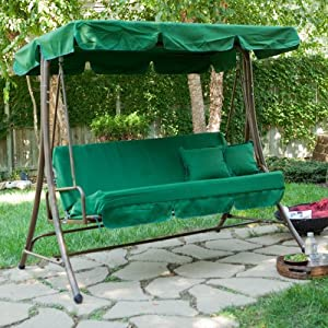 Lazy Caye 3 Person Swing Bed Forest Green Patio