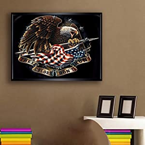 DIY 5D Diamond Painting Kits for Adults Full Drill Embroidery Paintings Rhinestone Pasted DIY Painting Cross Stitch Arts Crafts for Home Wall Decor 30x40cm/11.8×15.7Inches (Eagle American Flag) (Tamaño: 30*40cm)