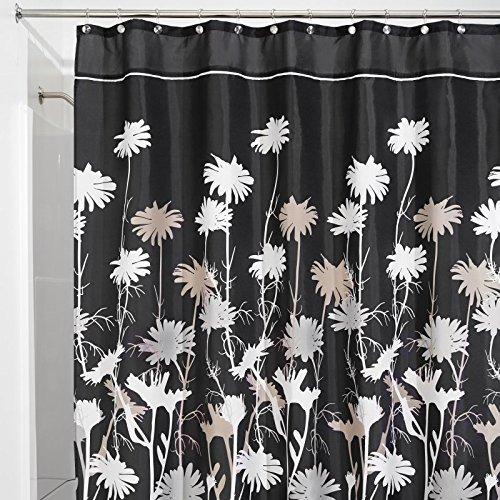 mDesign Daisy Tenda Doccia in Tessuto, 180 x 200 cm - Nero/Grigio