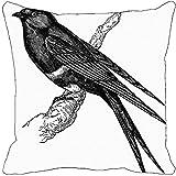 Leaf Designs - Black And White Bird Cushion Cover I