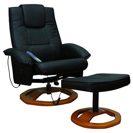 Massagesessel Fernsehsessel mit Hocker Relaxsessel Massage+Heizung SCHWARZ