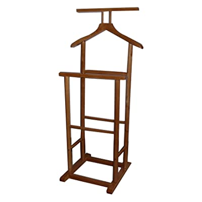 New Oak Solid Wood Coat Clothes Valet Butler Garment Stand Rack With Double Hanging Rail 36cm(D) * 48cm(W) * 102cm(H)