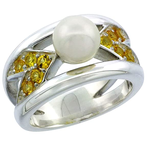 Revoni Sterling Silver Chevron Style Pearl Ring Band w/ Citrine-colored CZ Stones 7/16 in. (11.5mm) wide(Available in Sizes J to T)
