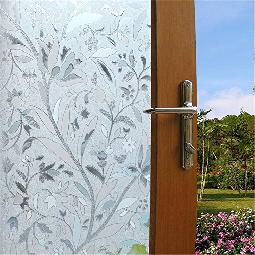 Viclover Premium Decorative No-Glue 3D Static Privacy Window Film Sliding Glass Door Window Cling For Bathroom Bedroom Home And Office (17.71 inches by 78.74 inches) (Front Door Glass Cover compare prices)