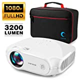 Crenova Video Projector, Multimedia Home Mini Movie Projector with Portable Bag, 3200 Lux, 50,000 Hrs LED Lamp, Work with PC, Fire Stick, HDMI, PS4, TV Box, VGA, SD, AV, USB (Color: White-bag)