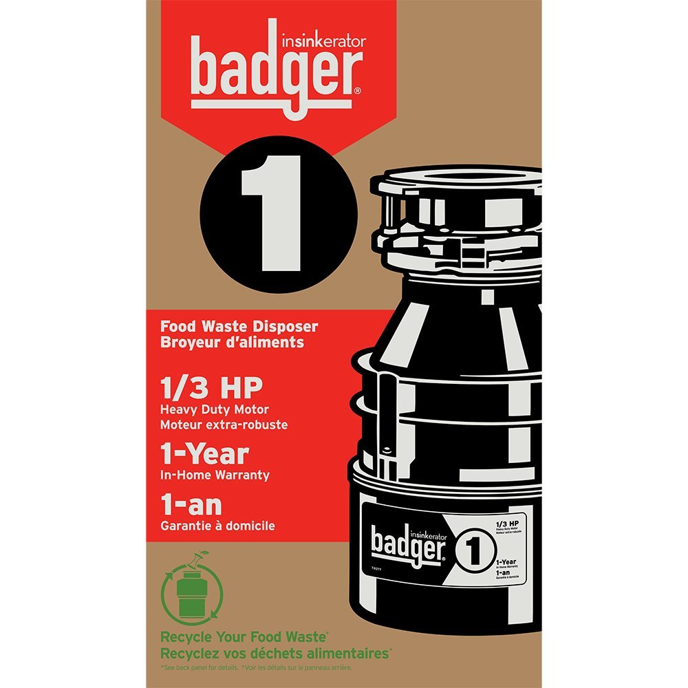 InSinkErator Badger 1 Garbage Disposal, 1/3 HP Food Waste Disposal Unit