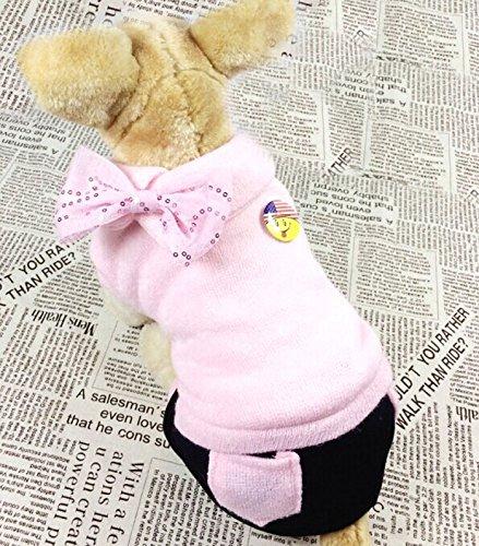 Pet Cat Dog Fleece Layer Winter Coat Jumpsuit Jacket Sweater Hoodie Small Dog Clothes Lightpink M front-1075820