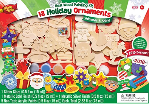 Christmas Ornament Wood Craft Paint Kit 2016 Kid Art Set Brush Gift Work Shop (Faux Wood Kit compare prices)