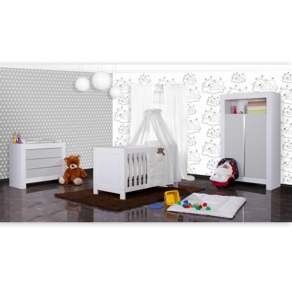 Babyzimmer Felix in weiss/grau 19 tlg. mit 2 türigem Kl + Sleeping Bear in weiss