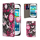 32nd® Design book wallet PU leather case cover for Samsung Galaxy Mini GT-S5570 + screen protector and cleaning cloth - Gerbera