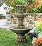 3-Tier Outdoor Water Fountain with Adjustable Waterflow
