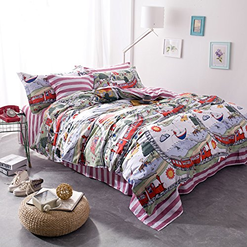 TheFit Paisley Bedding for Kids U33 Draem Land Duvet Cover Set 100% Cotton, Queen Set, 4 Pieces