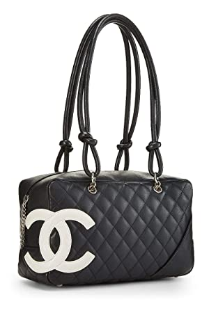 58419cbe71a6 CHANEL Black Quilted Calfskin Cambon Ligne Bowler (Pre-Owned) (Color: Black,  Tamaño: One Size)