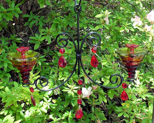 Hummingbird feeders on sales parasol ch2glfr b mini blossom double parasol ch2glfr b mini blossom double chandelier blown glass hummingbird feeder flame red mozeypictures Gallery