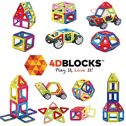 4DBlocks - Play it , Love it! - Magnetic Building Block Set - 40 Pieces - Promotes Creativity, Imagination & Brain Development - The Best Combination Of Recreation & Education For Children (Brain Development Games compare prices)