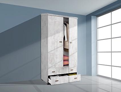 Armario ropero de 100x200 con dos puertas y dos cajones, color blanco collage