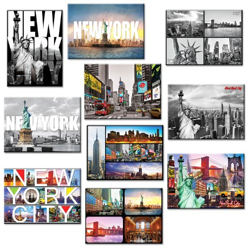 10 set New York NYC Souvenir Large Photo Picture Fridge Magnets 2.5 x 3.5 inch - Pack of 10 (Fridge Magnet New York compare prices)
