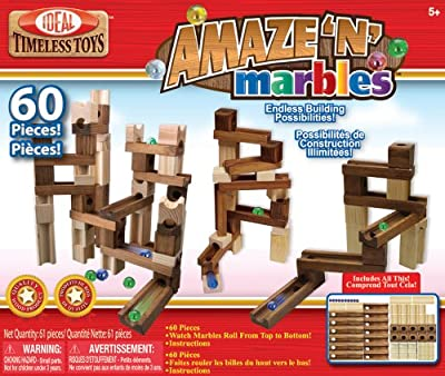 POOF-Slinky - Ideal Amaze 'N' Marbles Classic Wood Construction Set with Sealed Storage Box, 60-Pieces, 4600MBL by Ideal