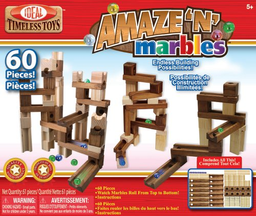Poof-Slinky - Ideal Amaze 'N' Marbles Classic Wood Construction Set With Sealed Storage Box, 60-Pieces, 4600Mbl