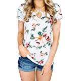 Pervobs T-Shirt, Women Short Sleeve Floral Printed T-Shirt Loose Blouse Casual Tops (L, White 2)