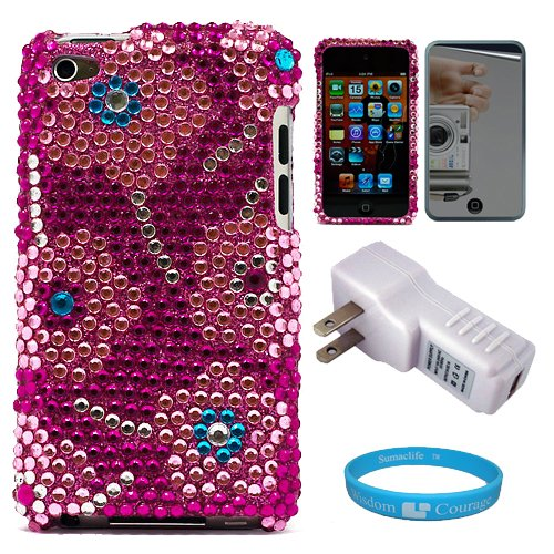 Premium Two Piece Pink Candy Flower Rhinestone Design Protective Crystal Case Cover for iPod Touch 4th Generation + Mirror Screen Protector for Apple iPod Touch 4th Generation + USB Travel Wall Charger with LED Power Indicator + SumacLife TM Wisdom Courage Wristband