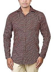 Basil Men's Lycra Cotton Blend Casual Shirt (BA360LCP36CSF-42, Brown, 42)