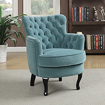 Transitional Turquoise Velvet Accent Chair Will Look Beautiful in Your Living Room. Blue Club Chair Has a Button Tufted Rolled Back.