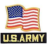 アメリカ国旗パッチ ミリタリーワッペン 刺繍パッチ 星条旗ウエーブ+ARMYタブ NO-286-ARMY (ARMY-B)