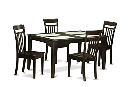 East West Furniture CAP5G-CAP-W 5-Piece Dining Table Set