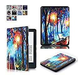 All-New Kindle 8th Generation 2016 Case SAVYOU Cute Painted Pu Leather Smart Shell Protective and Form Fitting Cover Case for All-New Kindle 8th Generation 2016 Romantic Road A-Romantic Road