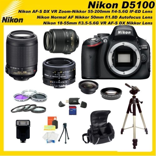 Nikon D5100 16.2MP CMOS Digital SLR Camera with 3-inch Vari-Angle LCD Monitor Triple Lens Sports Package