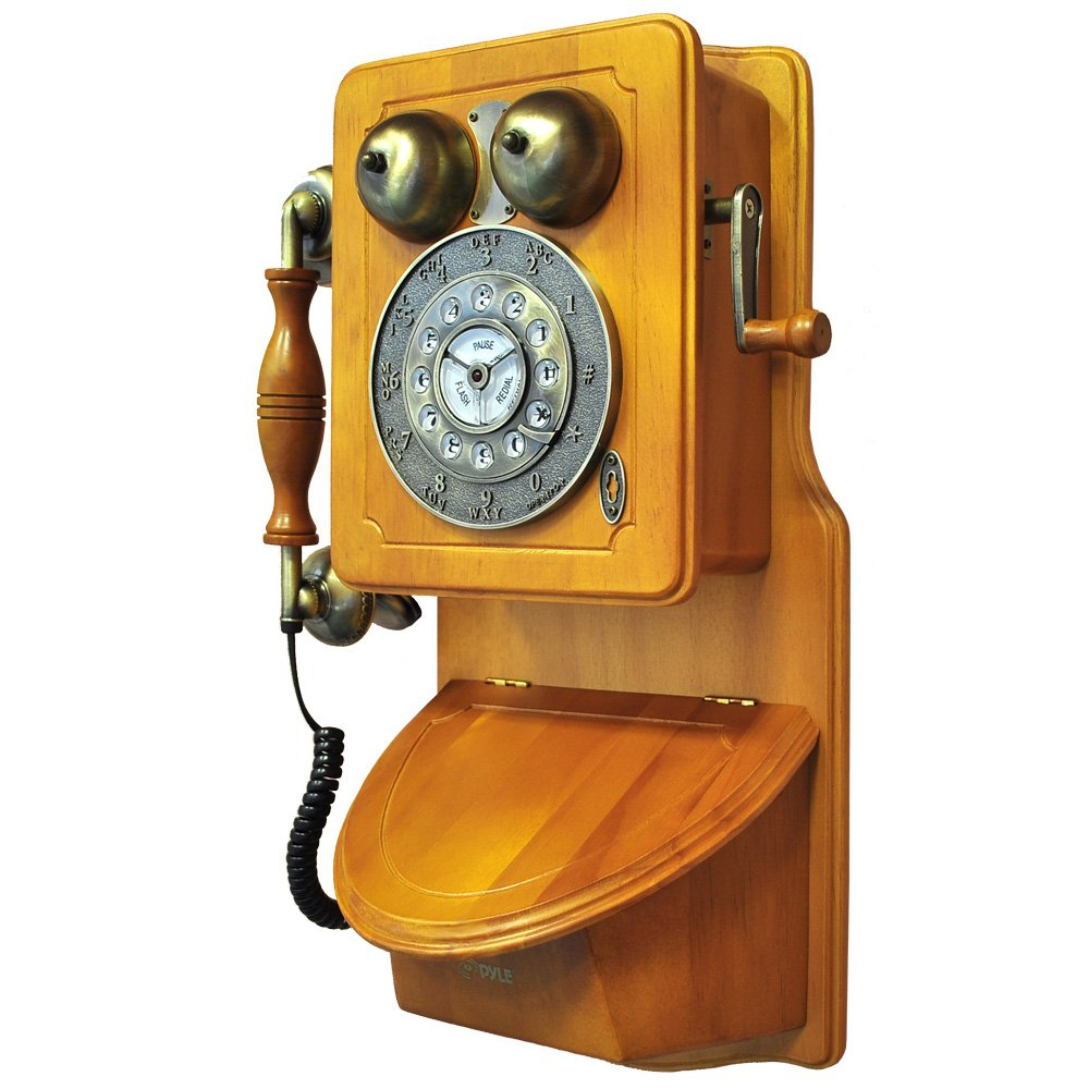 Pyle PRT45 Retro Antique Country Wall Phone - Retail Packaging - Wood 1