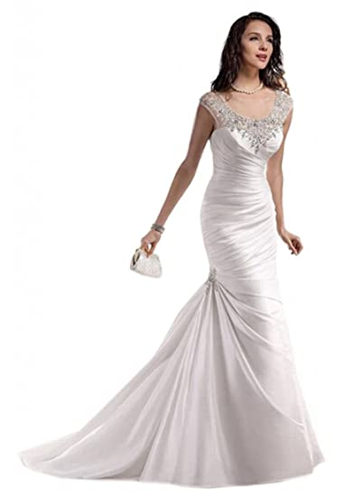 Dlass Mermaid Crystal Wedding Dresses 2013 (US2, Ivory)