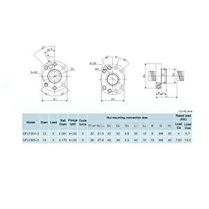 900mm Length Approx 35.43inch TEN-HIGH Ball Screw CNC Parts SFU4005 RM4005 40mm 900mm with Metal Deflector Ball Screw NUT with BK//BF30 Standard End Machining