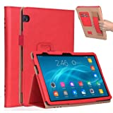 Huawei MediaPad T5 10.1 Inch 2018 Case, BasicStock Ultra Thin Protective Pu Leather Book Wallet Case with Stand Function, Shockproof Soft Cover for Huawei MediaPad T5 10.1 Inch 2018(Red) (Color: Red)