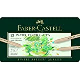 Faber-Castel FC112112 Pitt Pastel Pencils in A Metal Tin (12 Pack), Assorted (Color: Assorted)