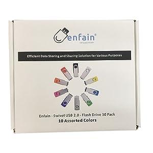Enfain USB 2.0 Flash Drive 1GB Thumb Drives 10 Pack Memory Stick for Computers (1 GB, Mixed Colors) (Color: 10 colors assorted, Tamaño: 1GB)