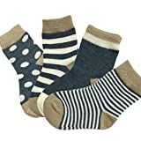 Fly-Love® 4 pairs Boy Baby Toddler Cartoon Cotton Socks Ankle Striped Sock 6-18 Month
