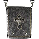 Black Distressed Gothic Tribal Cross Leather Shoulder Bag