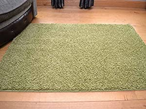 Meadow Green Machine Washable Thick Soft Shaggy Rug. Available in 5 Sizes. (80cm x 150cm) by Rugs Supermarket