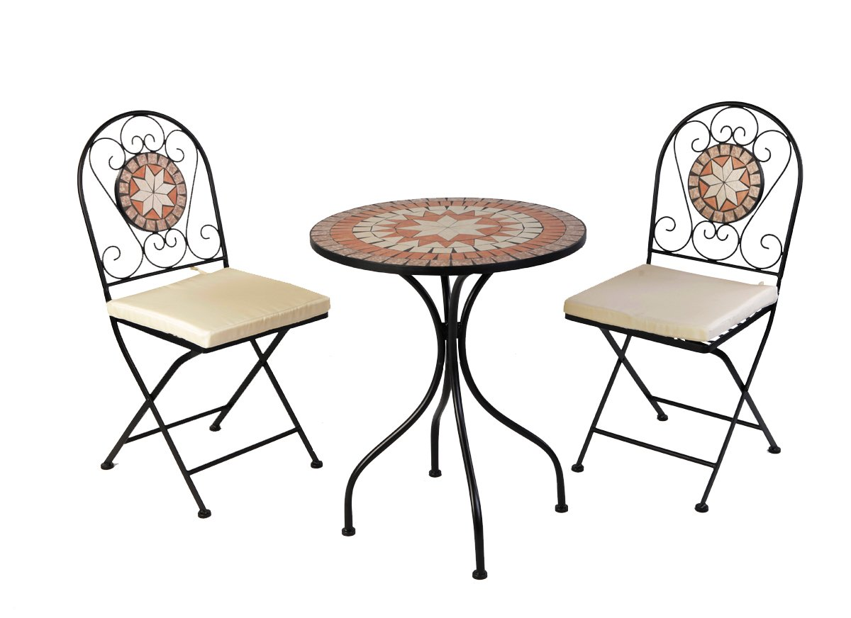 designer mosaik bistro set metall pulverbeschichtet bistro set gartenm bel balkon gruppe inkl. Black Bedroom Furniture Sets. Home Design Ideas