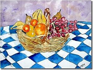 """""""Fruit Still Life II"""" by Derek McCrea - Artwork On Tile Ceramic Mural 12.75"""" x 17"""" Kitchen Backsplash"""