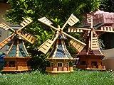 Windmühle, windmühle für Garten,Windmühlen garten, imprägniert + kugelgelagert 1,30 m groß blau blaugrau hell grau hellgrau anthrazit, mit SOLARBeleuchtung, Bitumen aus Massivholz