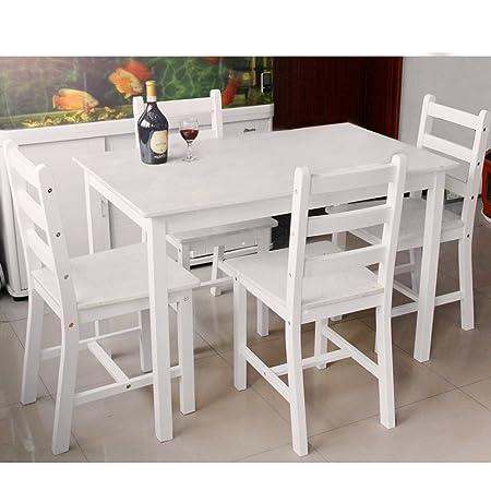 Mesa de Panana comedor y 4 sillas Conjunto de comedor contemporáneo (F4, BLANCO)