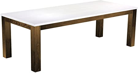 Queen's Furniture Dining Table 'Rio' 240 x 100 cm Solid Pine Wood, Colour: Snow – Antique Oak