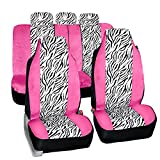 FH-FB121115 Zebra Prints Car Seat Covers, Airbag ready and Split Bench, Pink / White color