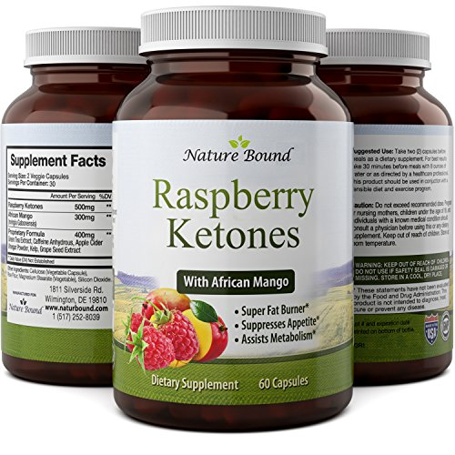 Raspberry Ketones, Green Tea Extract & African Mango Weight Loss Supplement - Potent Blend of Pure Natural Ingredients - Helps Burn Fat & Suppress Appetite - 60 Capsules - By Nature Bound (Mango Extract Weight Loss compare prices)