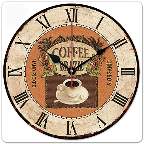 iCasso 12 Retro Vintage Coffee Cup French Country Tuscan Style Non-Ticking Silent Wood Wall Clock Wooden Wall Art Decor