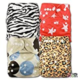 LittleBloom, Reusable Pocket Cloth Nappy, Fastener: Popper, Set of 4, Patterns 401, With 8 Bamboo Inserts, 6574